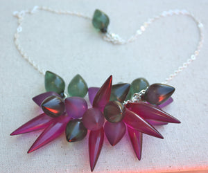 violet green statement necklace