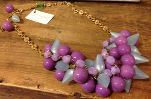 blue purple statement necklace