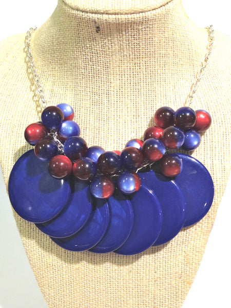 blue red poker chip necklace