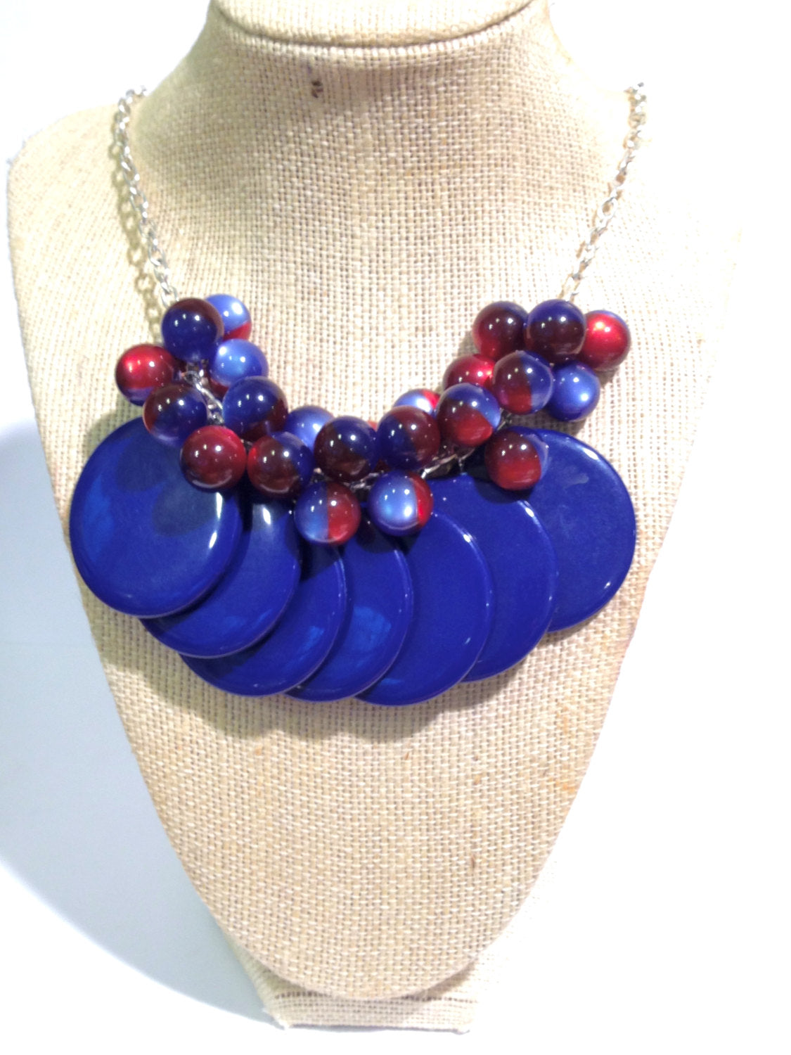 dark blue statement necklace