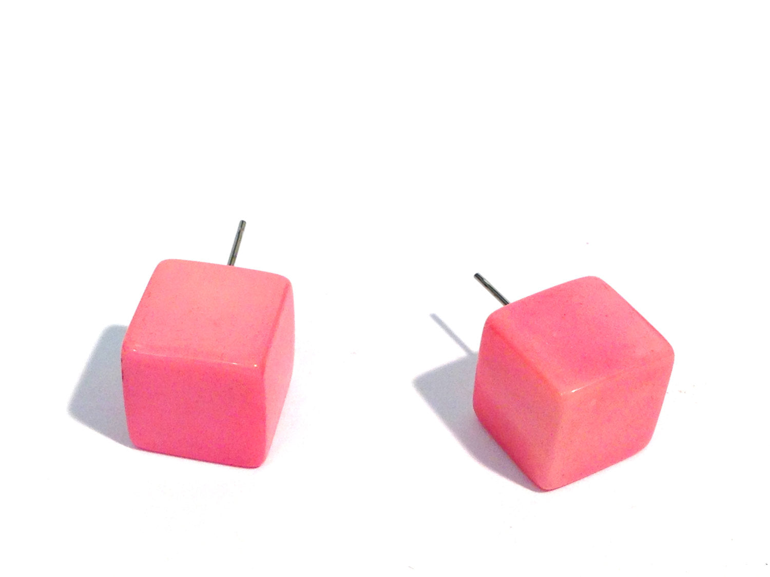 pink square stud earrings
