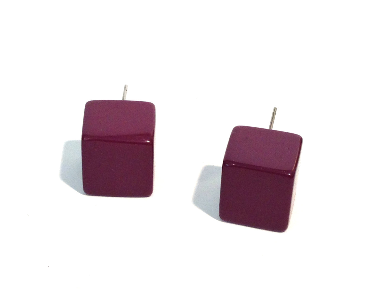 purple cube stud earrings