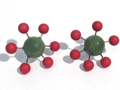 red green sputnik earrings