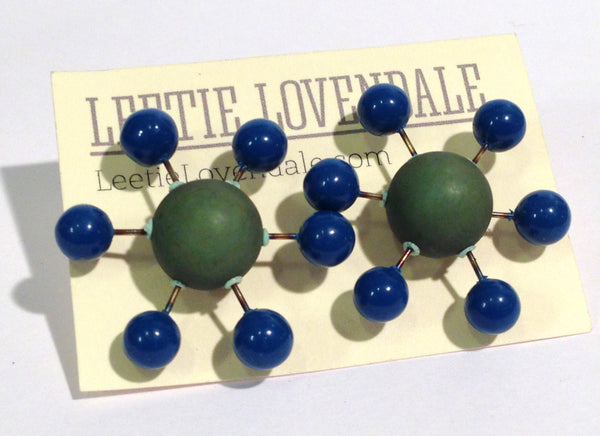 green blue sputnik studs