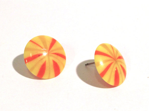 stripe button studs yellow