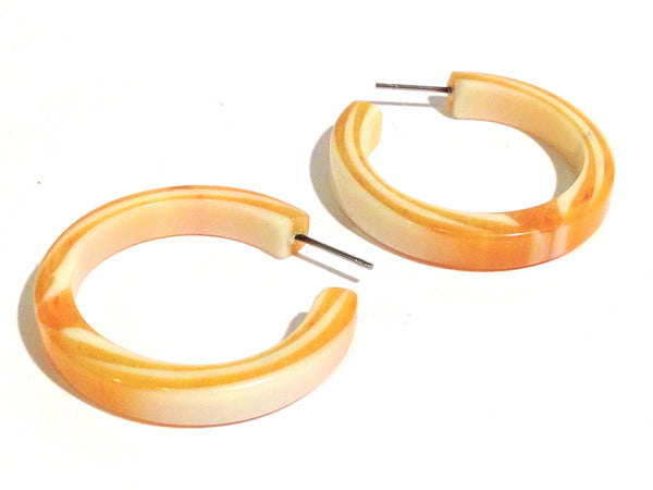 yellow white lucite hoops