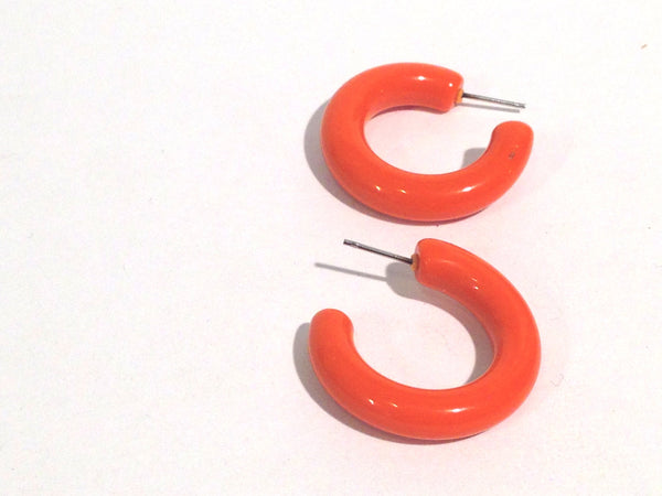dark orange lucite hoops