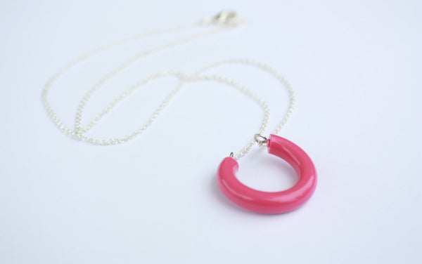 bright pink horseshoe necklace