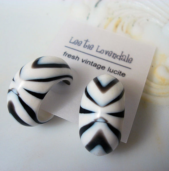 vintage black white earrings
