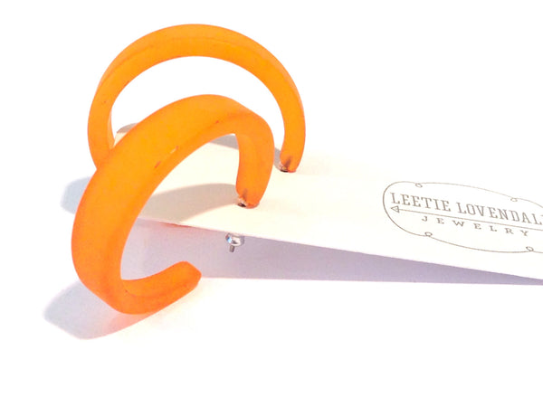 frosted lucite orange hoops
