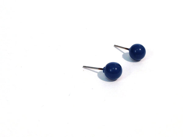 small navy stud earrings