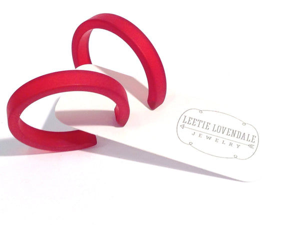vintage lucite red hoops