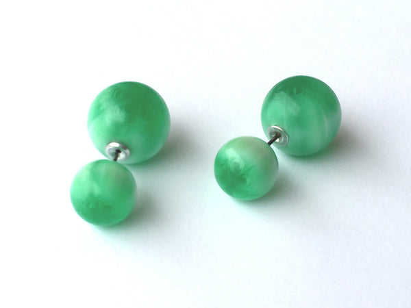 green 2 sided earrings