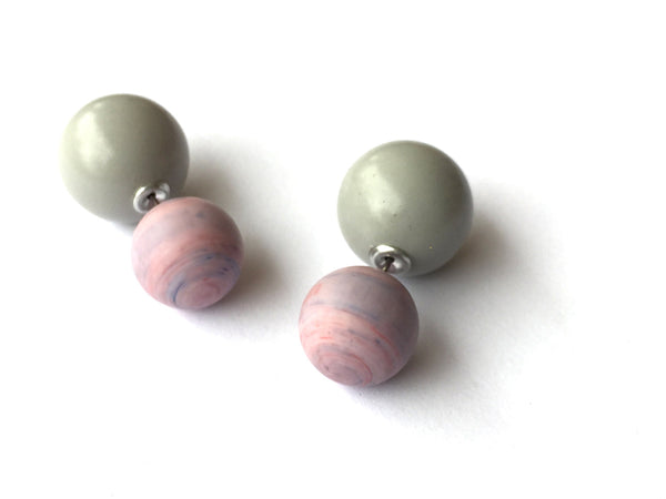 lavender grey 2 sided earrings