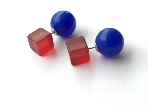 double sided earrings red blue