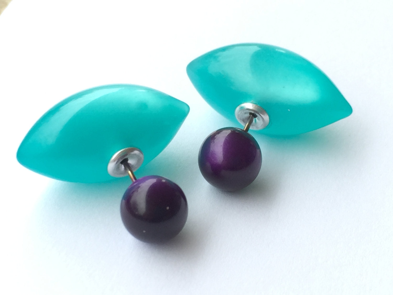purple teal earrings