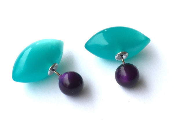 teal purple earrings