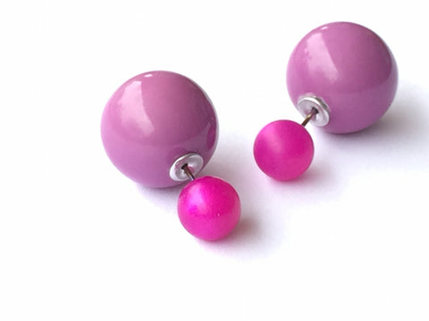 2 Sided Earrings - vintage lucite moonglow double studs - Fuchsia Frosted & Lilac Purple