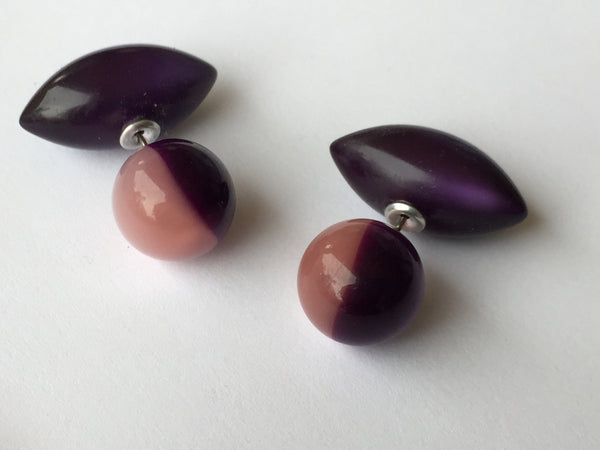 2 Sided Post Earrings | vintage lucite moonglow double studs | Pink & Purple Harlequin Style