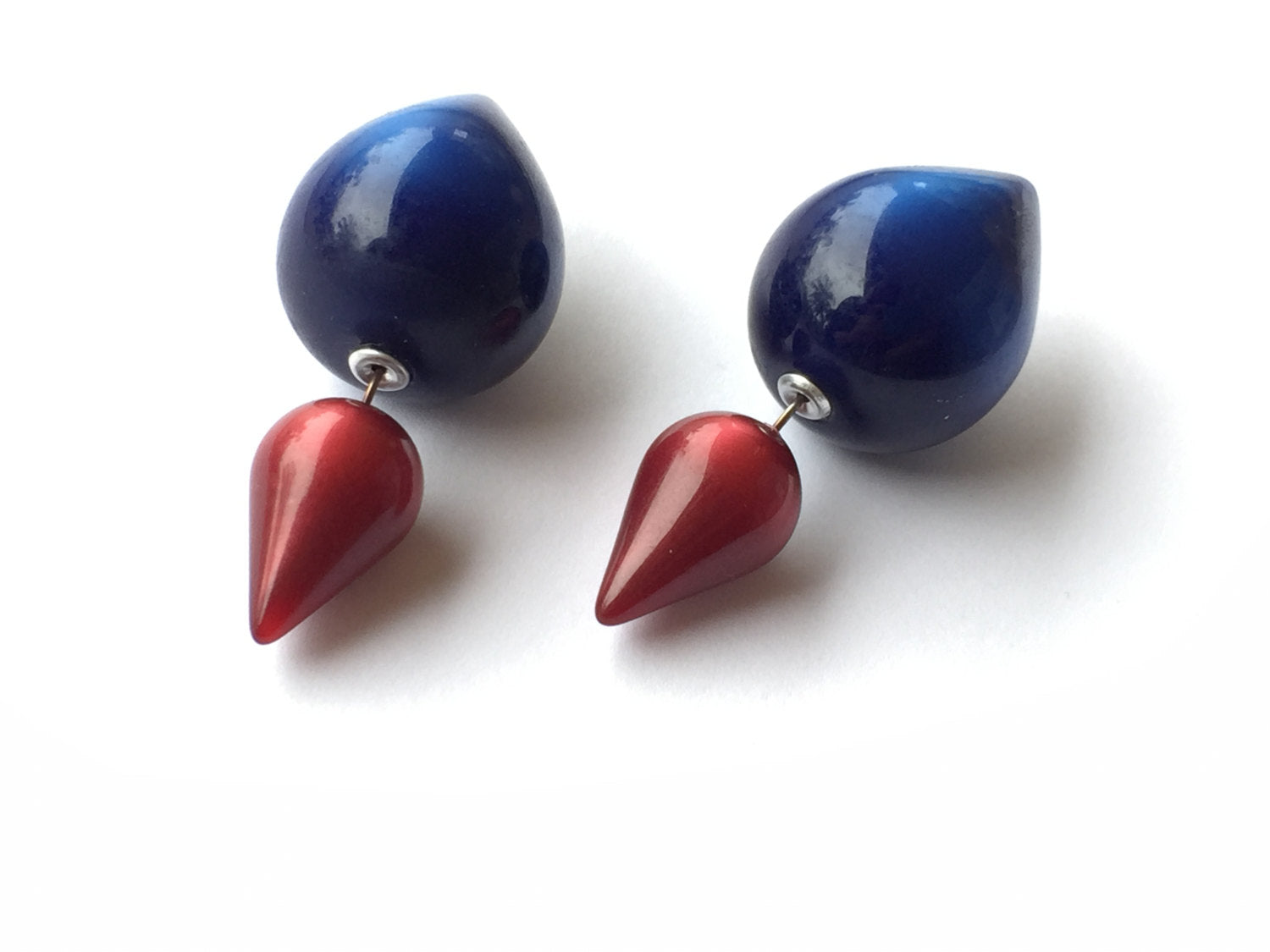 2 sided earrings red blue
