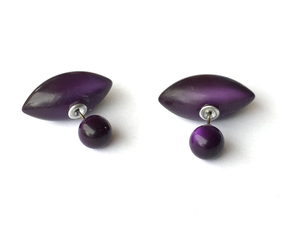 2 Sided Earrings - vintage lucite moonglow double studs - Deep Purple Pod & Bead