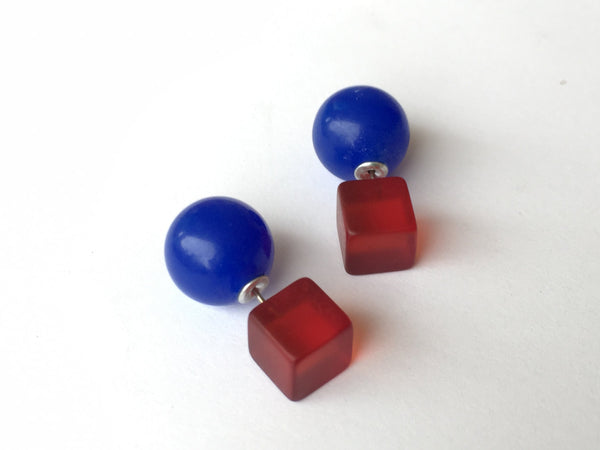 red blue 360 earrings