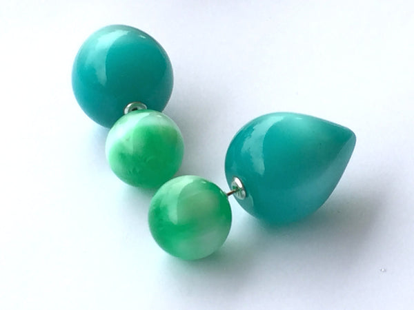 green double earrings