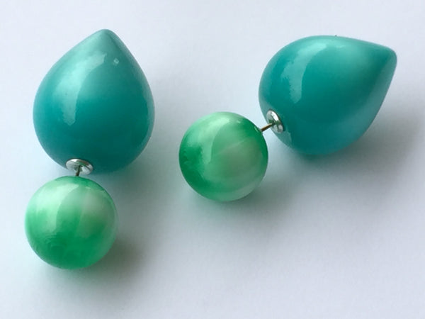 2 sided green aqua earrings