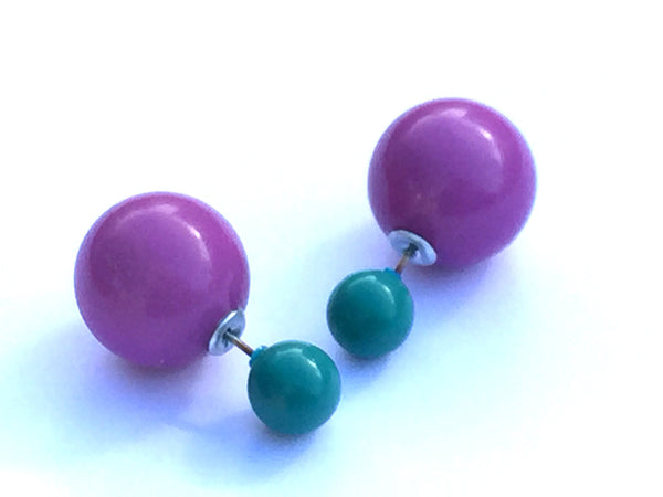 2 Sided Earrings - vintage lucite double studs - Lavendar Purple & Dark Aqua Posts