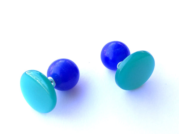 2 Sided Earrings - vintage lucite moonglow double studs - Teal Green Discs with Cobalt Blue