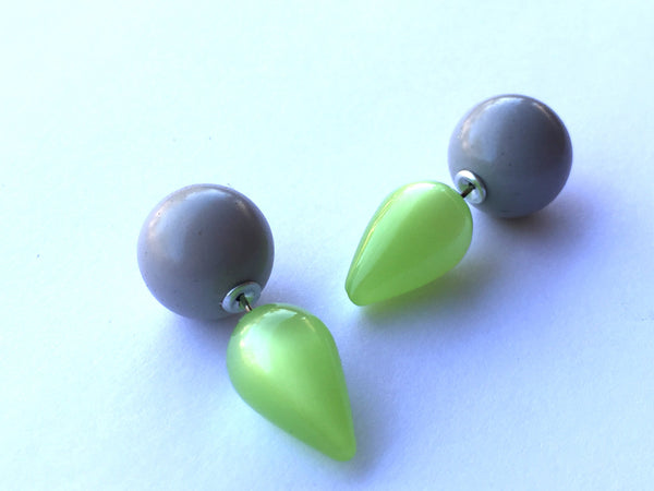 2 Sided Earrings - vintage lucite moonglow spike double studs - Lime Green with Purple