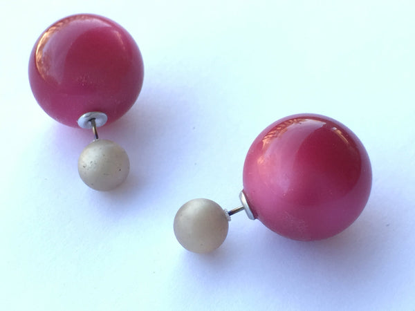 Grey Frosted & Cranberry Red Moonglow 2 Sided Stud Earrings