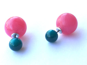 2 Sided Earrings - vintage lucite double moonglow studs - Deep Teal Green with Fuchsia Pink Marbled