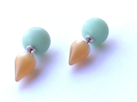 mint champagne 2 sided earrings