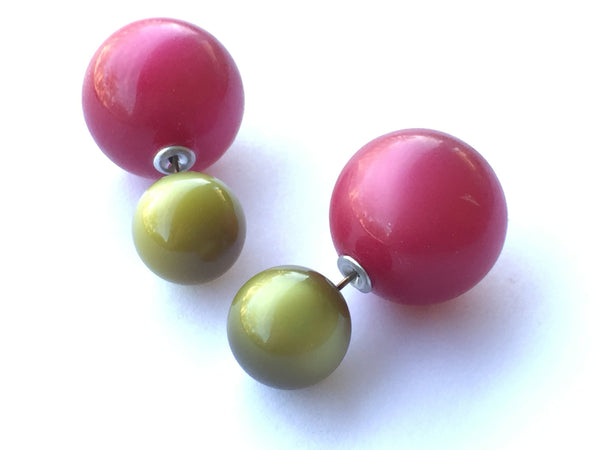 olive red studs