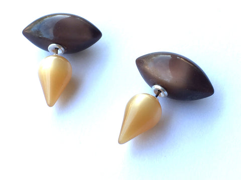 Beige & Brown Moonglow Lucite 2 Sided Stud Earrings