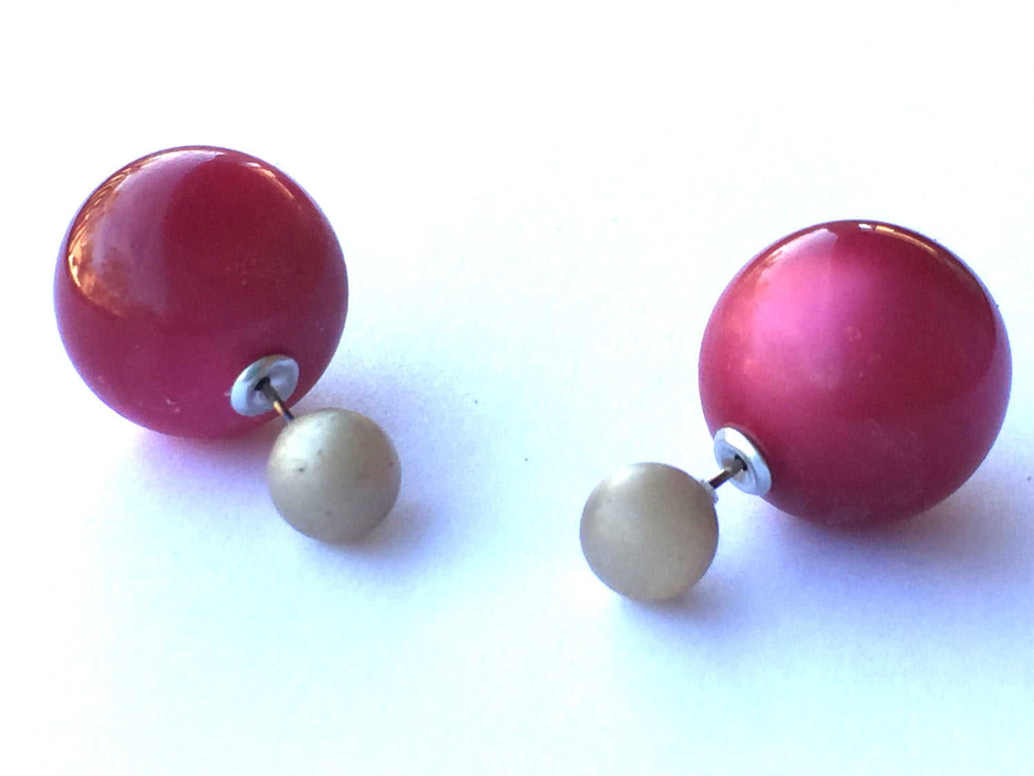 2 Sided Earrings - vintage lucite double moonglow studs - Grey Frosted with Cranberry Red