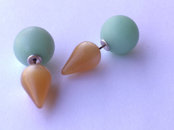 beige green stud earrings