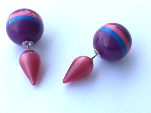 Cranberry Moonglow & Purple Stripe Lucite 2 Sided Stud Earrings