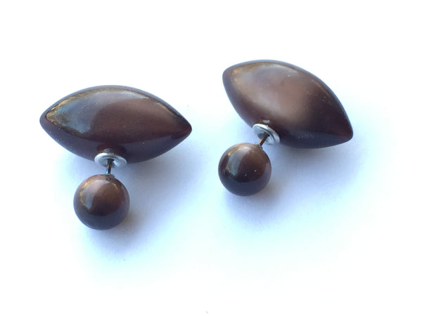 brown lucite double sided earrings