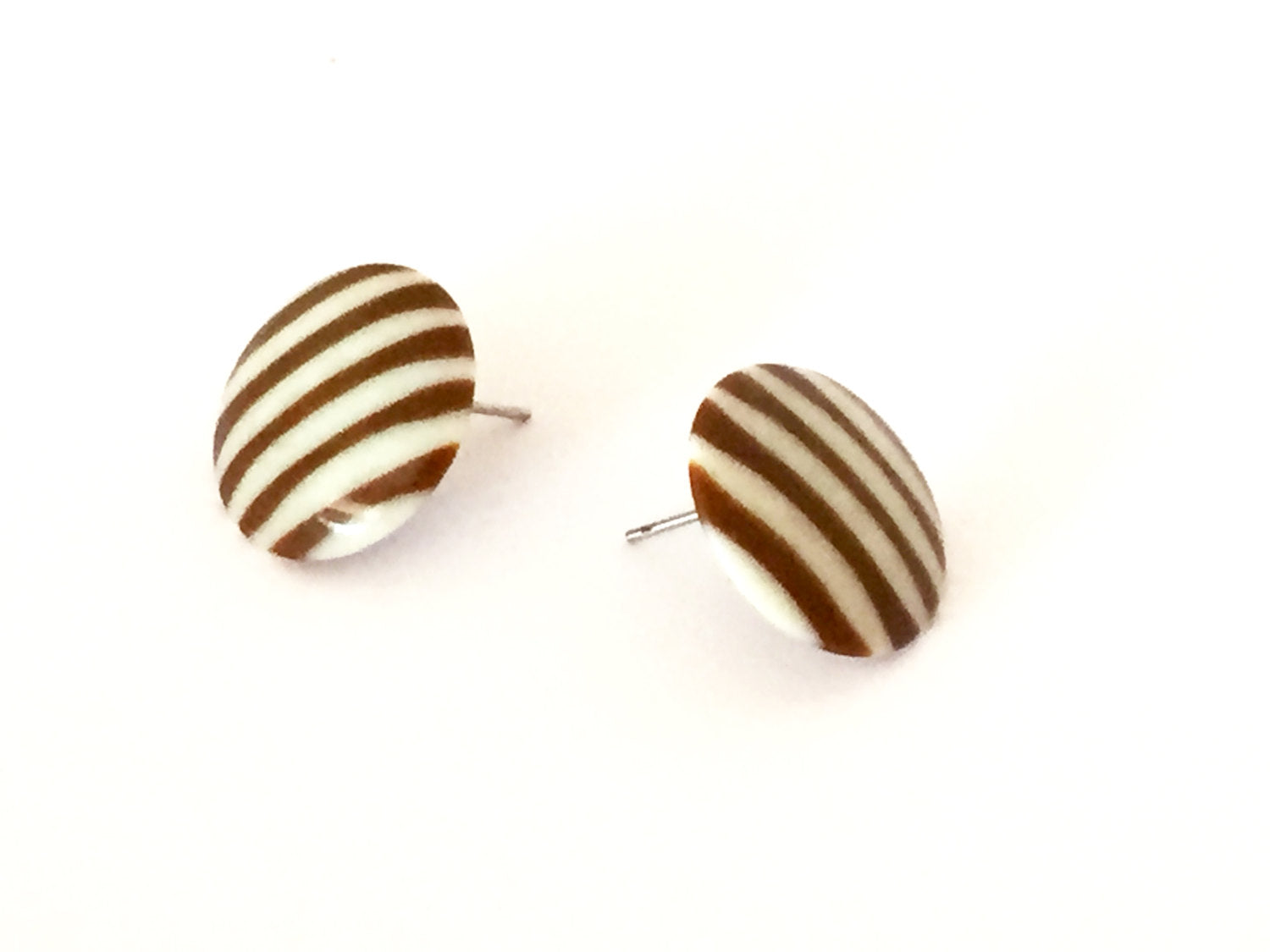 brown stripe earrings