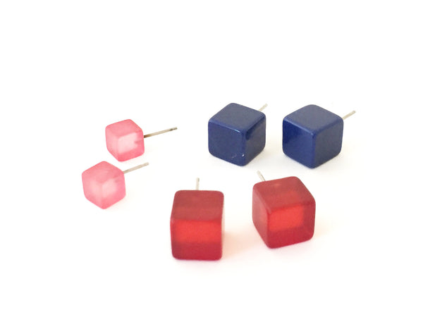 Pink Cube Studs | Frosted Cranberry Pink Cube Posties | vintage lucite square stud post earrings