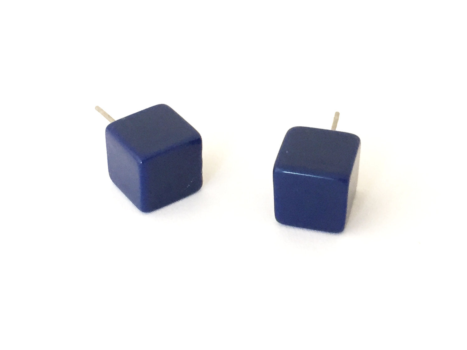 navy cube earrings