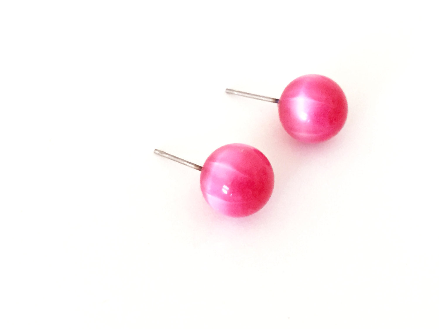 hot pink moonglow studs