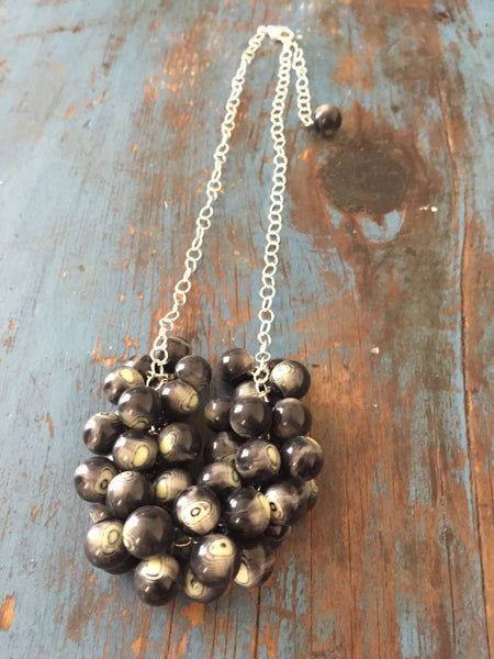 leetie black silver statement necklace