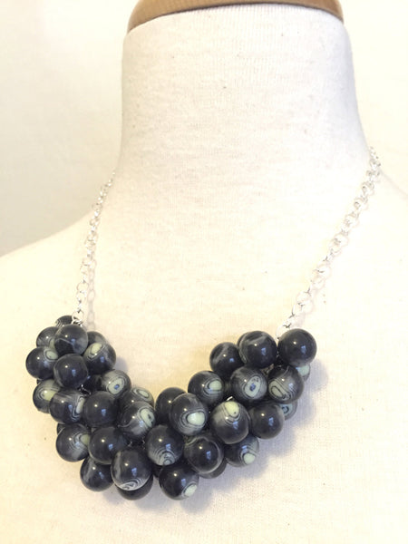 marbled black statement necklace