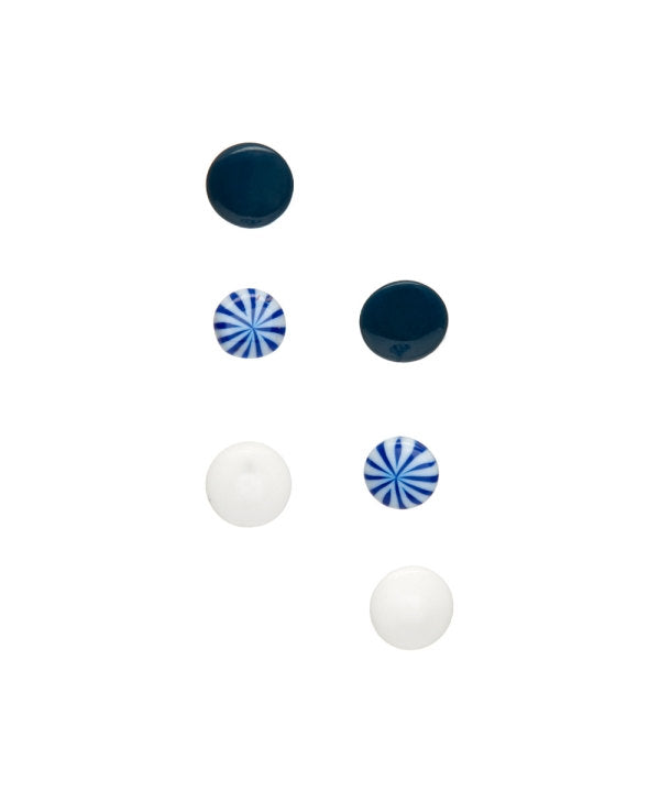 black white blue tiny studs