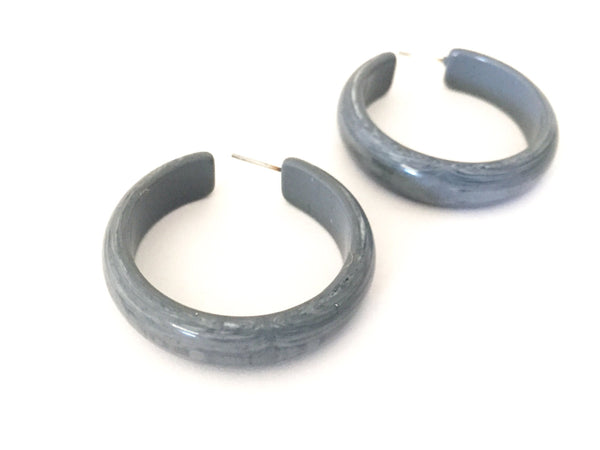shiny grey hoop earrings