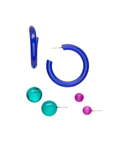 blue hoop earrings set