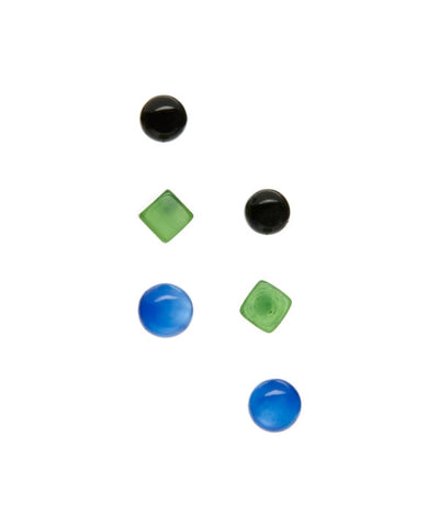 tiny studs green black blue